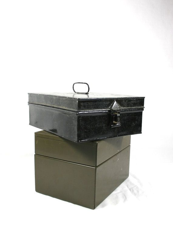Black Metal Tin Box Hinged Lid Green File Box by VerifiedVintageNL