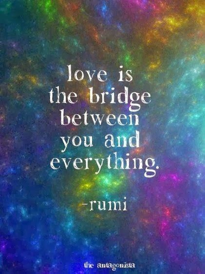 Love is a bridge between you and everything. Rumi quote #rumi #love quote #life quote...:)