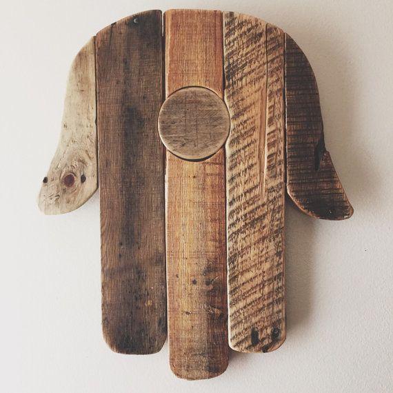 Reclaimed Wood Hamsa hand -Rustic Wall Decor, home decor, pallet wood, Hand of Fatima