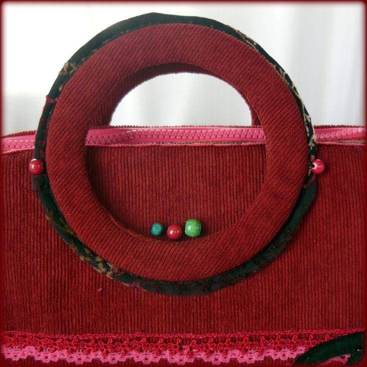 Handmade by Judy Majoros - Red corduroy music bag. Black polka dots tulle. Felt Notes- violin key applique. Crossbody bag. Recycled bag. Beaded-crochet