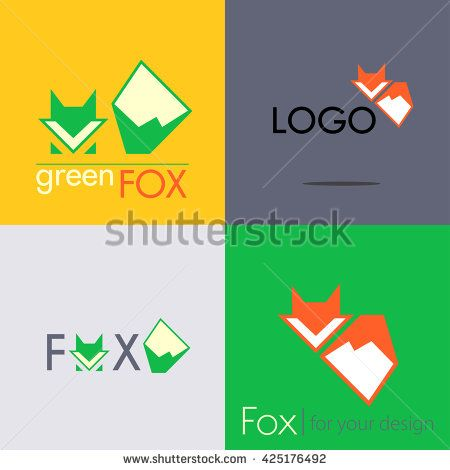Set red green Fox logo with big tail - vector illustration, sign symbol icon. - stock vector