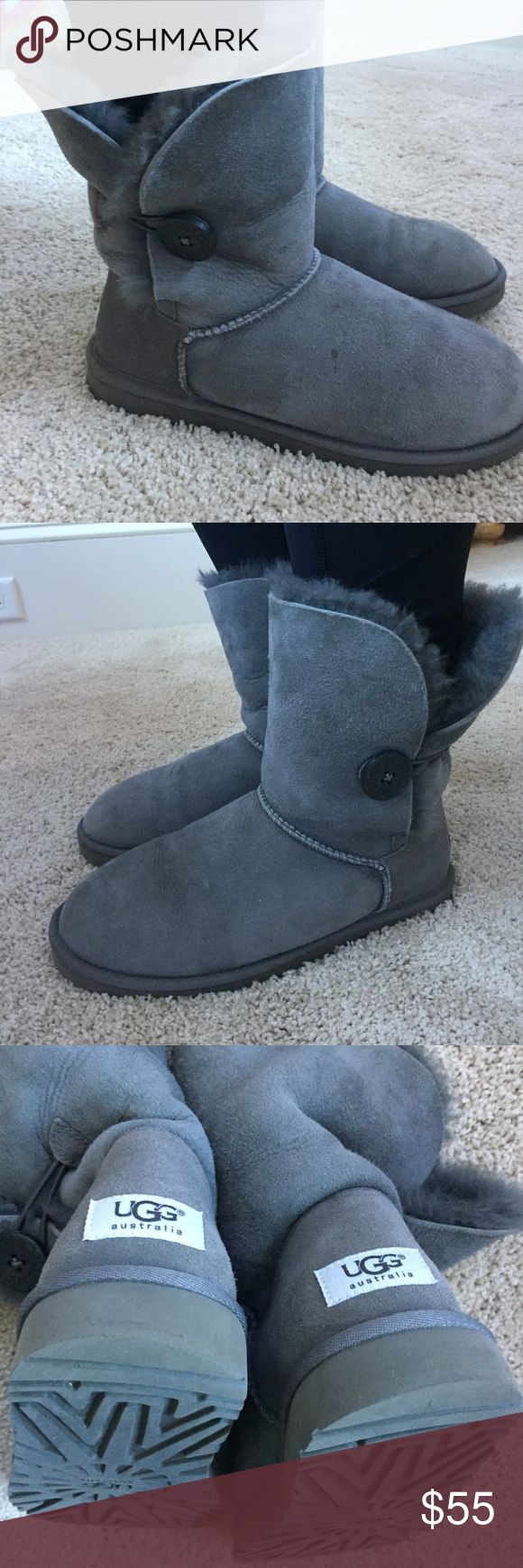 UGG Bailey Button Boots in Grey ✨ Women's size 8 Bailey Button UGGs ✨ Professionally scotchguarded for water resistant by local professional shoe shop  ✨ Wear in soles in toe and heels shown in pictures ✨ A few drop sizes stains on top of right boot shown in picture.  ✨ Reasonable offers always accepted ✨ Purchased at Nordstrom UGG Shoes Winter & Rain Boots