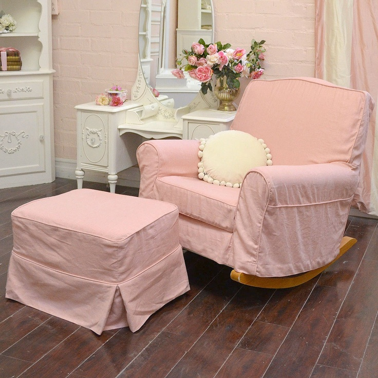 sweet chic pink linen rocking chair with ottoman 995 00 16728 | dbcbe7a723dedacce9f7eed7027b235d