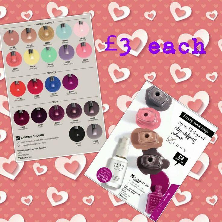 New Mark nail enamel £3 each visit Avon.uk.com/store/shana-shop