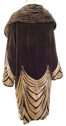 c. 1920's Rue de la Paix, Paris, Black Velvet, Gold Bead Evening Coat