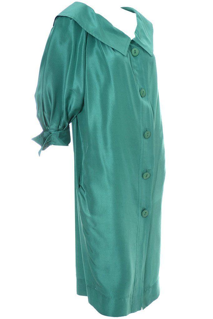d1a891ff6665 1970s Vintage Yves Saint Laurent Vintage Dress Green Silk Size 38 –  Dressing Vintage