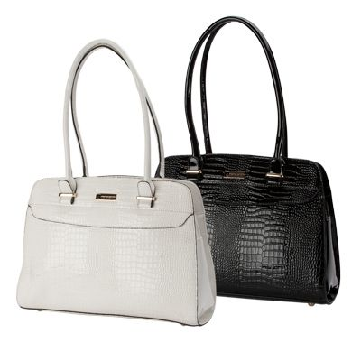 Pierre Cardin Black and White Patent Leather Handbags