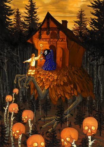 Baba Yaga - James Schultz - In Slavic folklore, Baba Yaga is a supernatural being (or one of a trio of sisters of the same name) who appears as a deformed and/or ferocious-looking woman.