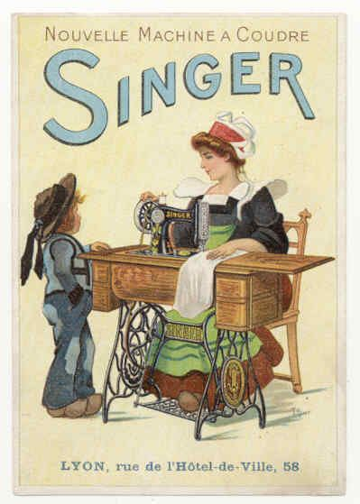 Vintage Singer sewing machine postcard