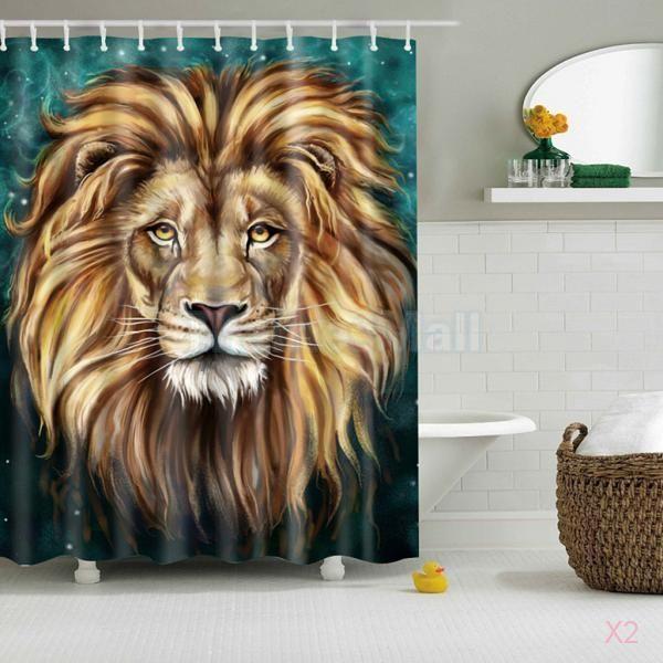 2X Bathroom Shower Curtain Waterproof Lion Head Style Panel Fabric Sheer Decor