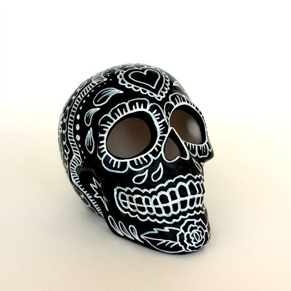 Ceramic Sugar Skull Hand Painted Day of the Dead Roses Sacred Heart Black White Dia de los Muertos Sculpture - READY TO SHIP