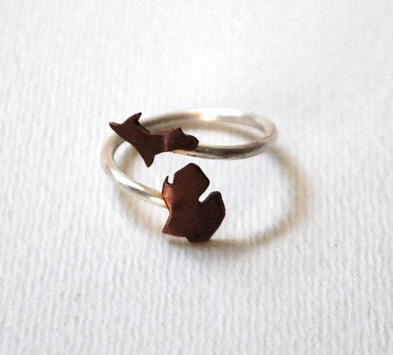 Michigan Upper and Lower Peninsula Twist State Ring (Sterling Silver & Copper Ring) I want this so bad!!!