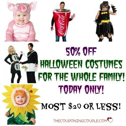 HOT BUY!! Halloween Costumes for 50% Off! Today only! Most are $20 or less! Check out all the awesome choices for the whole family!  Click the link below to get all of the details ► http://www.thecouponingcouple.com/save-50-off-halloween-costumes-for-the-family-today-only/  #Coupons #Couponing #CouponCommunity  Visit us at http://www.thecouponingcouple.com for more great posts!