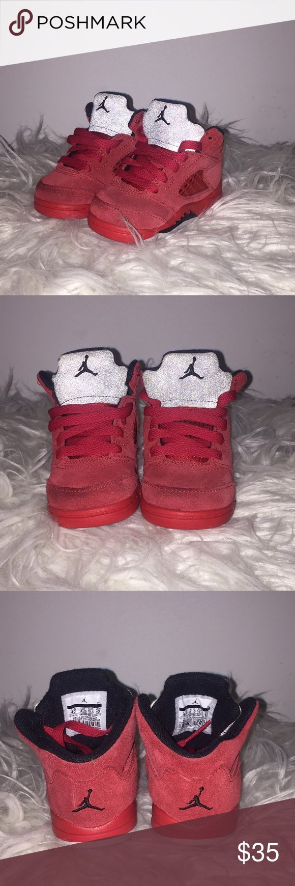 Toddler Jordan 5s Gently Used - University red / black -- some light scuffing on toe of shoe (suede) can be cleaned! Still in very good condition - size 4c Jordan Shoes Sneakers