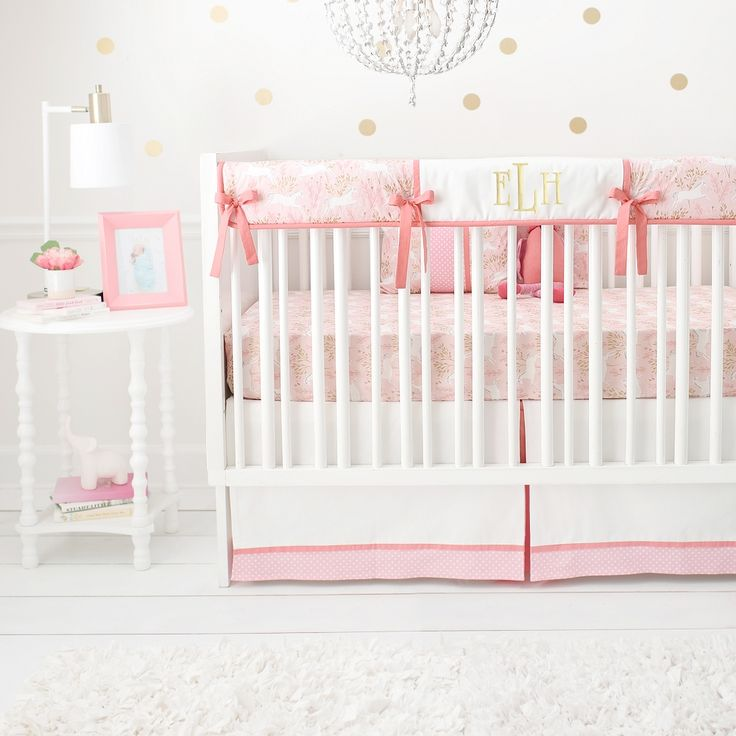 Pink and Gold Crib Rail Cover Set | Unicorn in Pink Collection