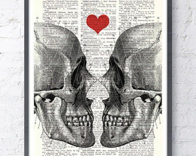ORIGINAL ART Print DICTIONARY ANTIQUE BOOK PAGE Smile VINTAGE SKULL GOTHIC