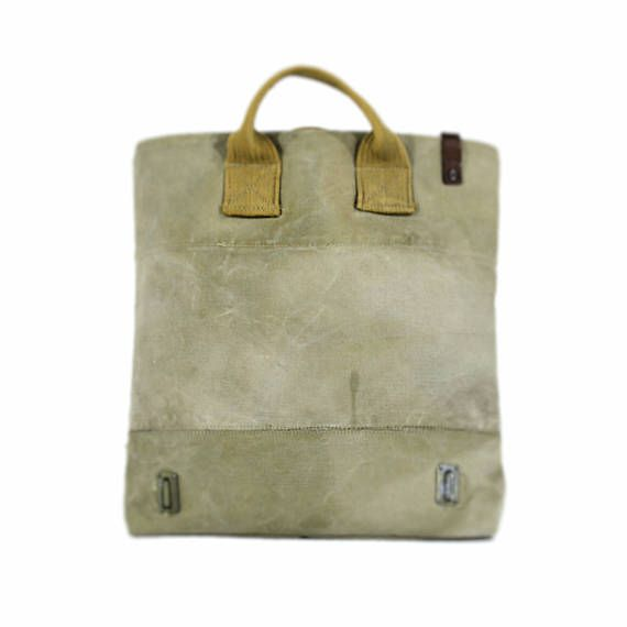 Canvas bag, canvas tote bag, canvas handbag, recycled bag, vintage bag • Handmade product • Material: drawn, old military lorry canvas • Size: 41cm/16.1 width, 37cm/14.6 height, 10cm/3.9 depth • Inside there is 1 big pocket with zip and 1 pocket which falls into 3 parts • Its lining is