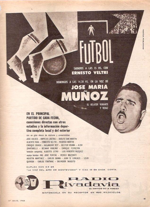 Publicidad programa deportivo con la conducción de José María Muñoz. Radio Rivadavia, Buenos Aires, 1960.