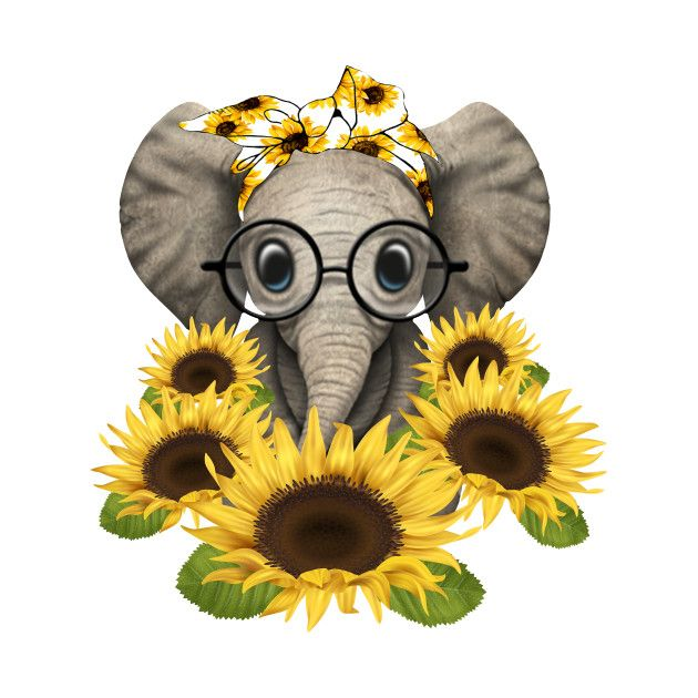 Check Out This Awesome Elephant Sunflower Mama Elephant Design
