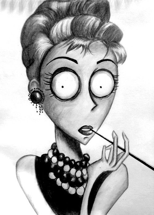 Holly Golightly if she was drawn by Tim Burton