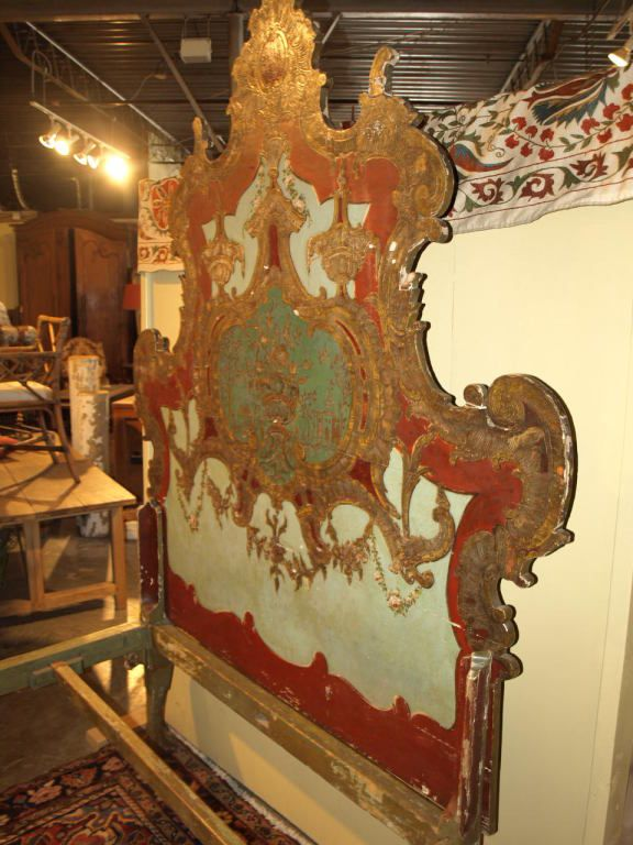 Late 18th Century Italian Bed in Painted Wood | From a unique collection of antique and modern beds at https://www.1stdibs.com/furniture/more-furniture-collectibles/beds/
