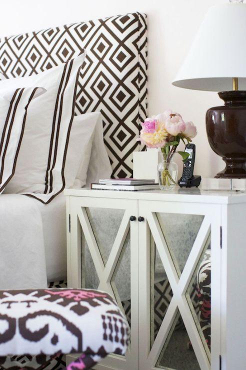 Morrison Fairfax Interiors: Stunning bedroom with David Hicks La Fiorentina fabric upholstered headboard.