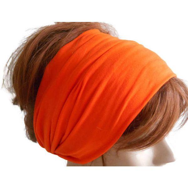 Yoga headband, Orange headband, Wide headband, Women headband, Scarf... (9.020 CLP) ❤ liked on Polyvore featuring accessories, hair accessories, bandana headband, yoga headbands, hair band headband, head wrap hair accessories and wide headbands