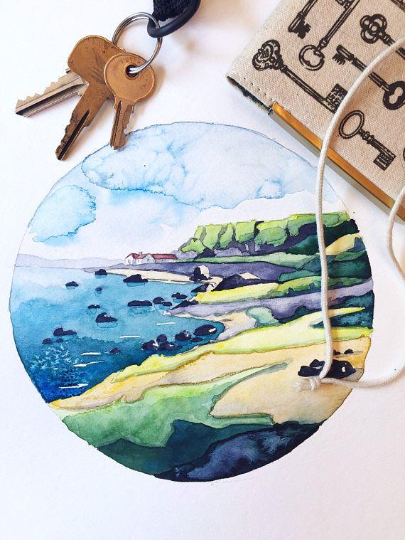 ORIGINAL watercolor  Across to Ballintoy Ireland