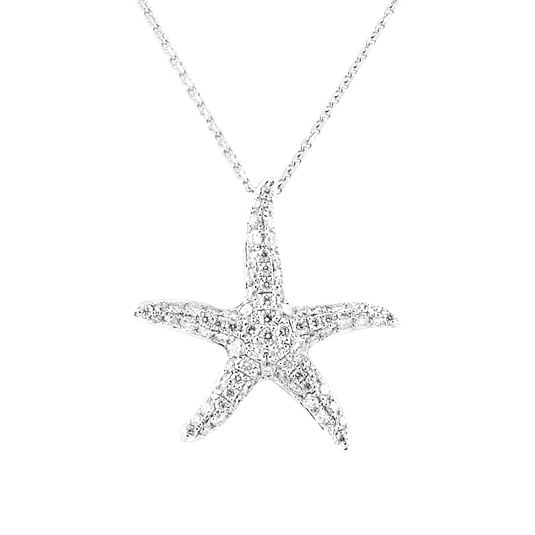 18 CARAT WHITE GOLD STAR FISH DIAMOND PENDANT