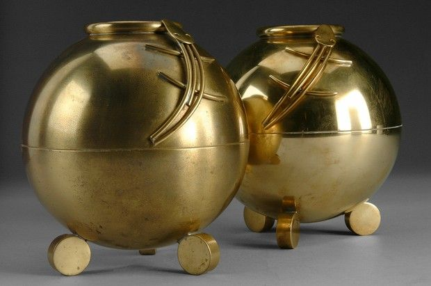 Ystad Metall, Pair of Brass Vases, c. 1930