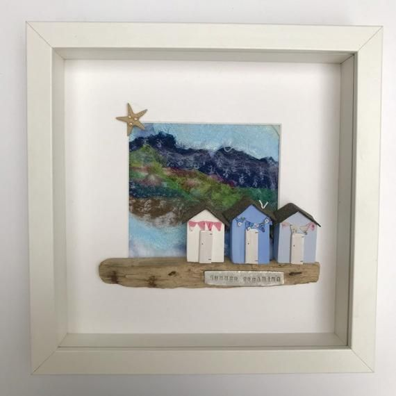 Driftwood And Textile Coastal Wall Art Of Summer Beach Huts With