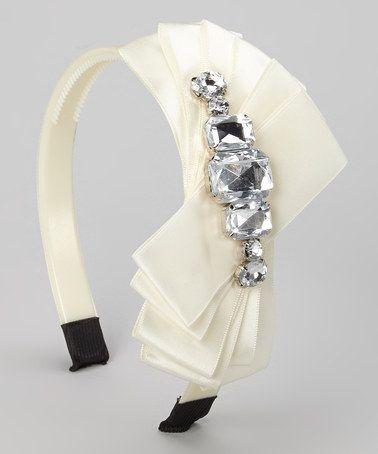 Look what I found on #zulily! Ivory Rhinestone Orchid Headband by SBNY Petite #zulilyfinds