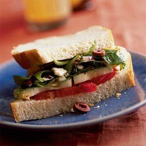 Greek Sandwich with Feta Vinaigrette   MyRecipes.com- Cooking Light- In this recipe I would use a whole grain Bread or Pita Bread.