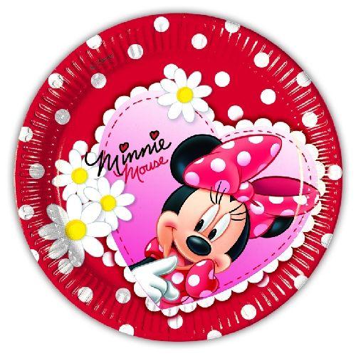 Piattini Minnie su fondo rosso e pois rosso. 10 piatti in cartoncino diam.19,5…