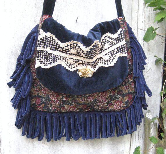 Large blue velvet gypsy bag purse boho by CatzStitchedFantasy
