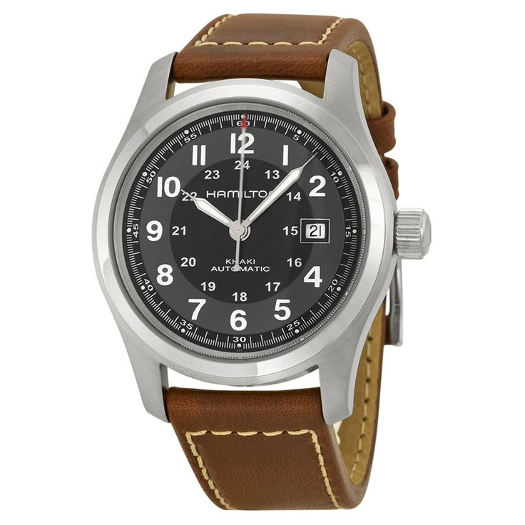 Hamilton Khaki Field Automatic Black Dial Brown Leather Men's Watch H70555533 - Khaki Field - Hamilton - Shop Watches by Brand - Jomashop