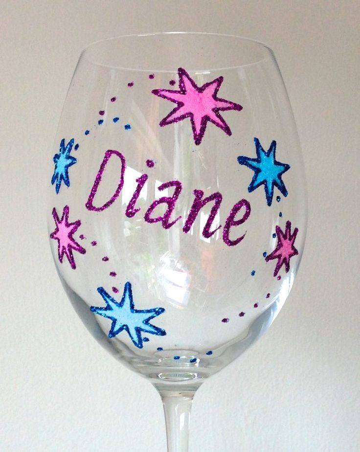 Best Friends Hand Painted Glass Gifts - Personalised Wine Glass Gifts or Champagne Prosecco Flutes with Stars Design. These glasses are designed and hand painted with high quality glasses, Pebeo Vitrae Inks, glitters and glass paints. | eBay!