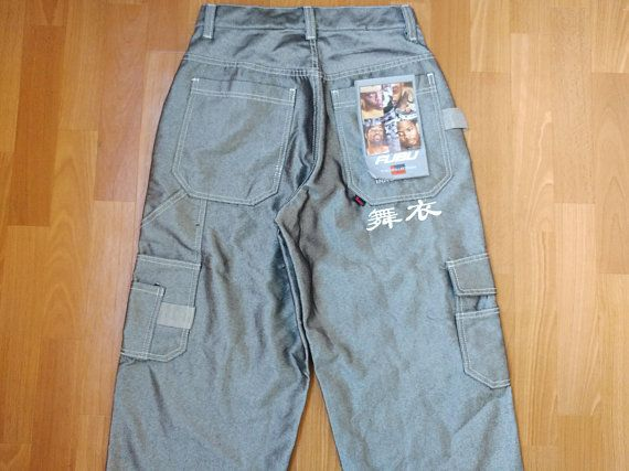 New FUBU jeans, deadstock vintage baggy silver shiny jeans