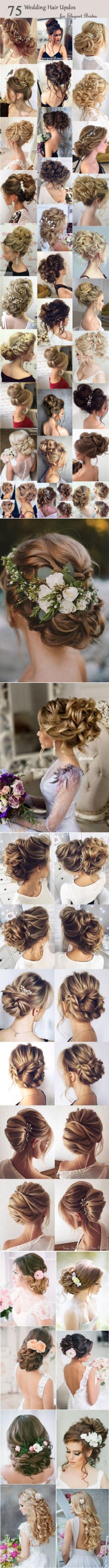 Şık Brides için 75 Şık Düğün Saç updos |  Yüksek saç modeli, düğün ve Geyik