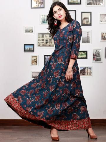 1c0537d59 Indigo Rust Ivory Red Hand Block Printed Long Cotton Dress With Back Knots  - D162F1341