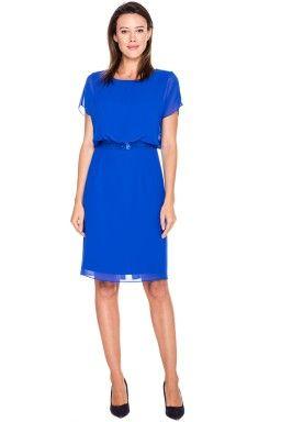 Szafirowa sukienka z cekinowym pasem - L'ame de Femme