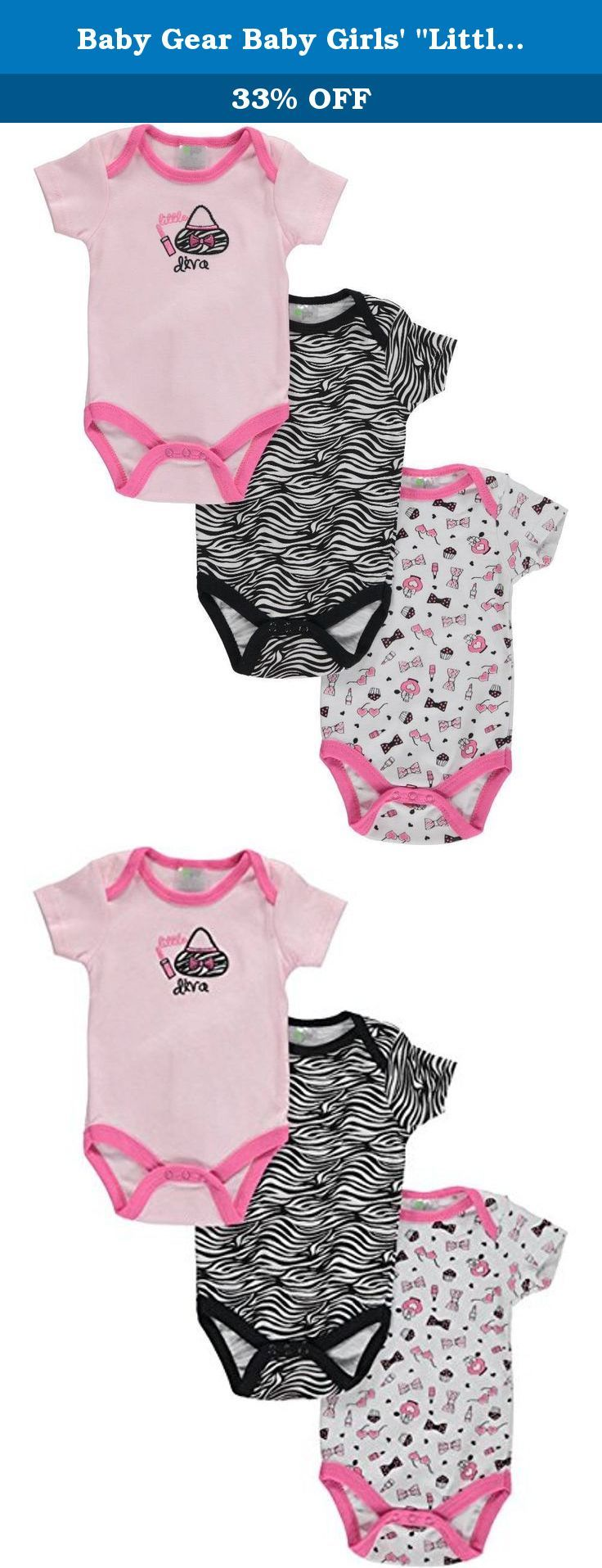 """Baby Gear Baby Girls' """"Little Diva"""" 3-Pack Bodysuits - pink/multi, 6 - 9 months. Stock up on 100% cotton bodysuits with this 3-pack from Baby Gear! Lap collars, easy-change snaps at bottom, appliques and prints as shown. 100% Cotton Machine Wash Cold Imported."""