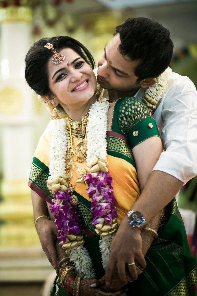 South Indian bride. Temple jewelry. Jhumkis.Mustard and green silk kanchipuram sari.Braid with fresh jasmine flowers. Tamil bride. Telugu bride. Kannada bride. Hindu bride.Malayalee bride.Kerala bride.South Indian wedding.Dhivyadarshini wedding.