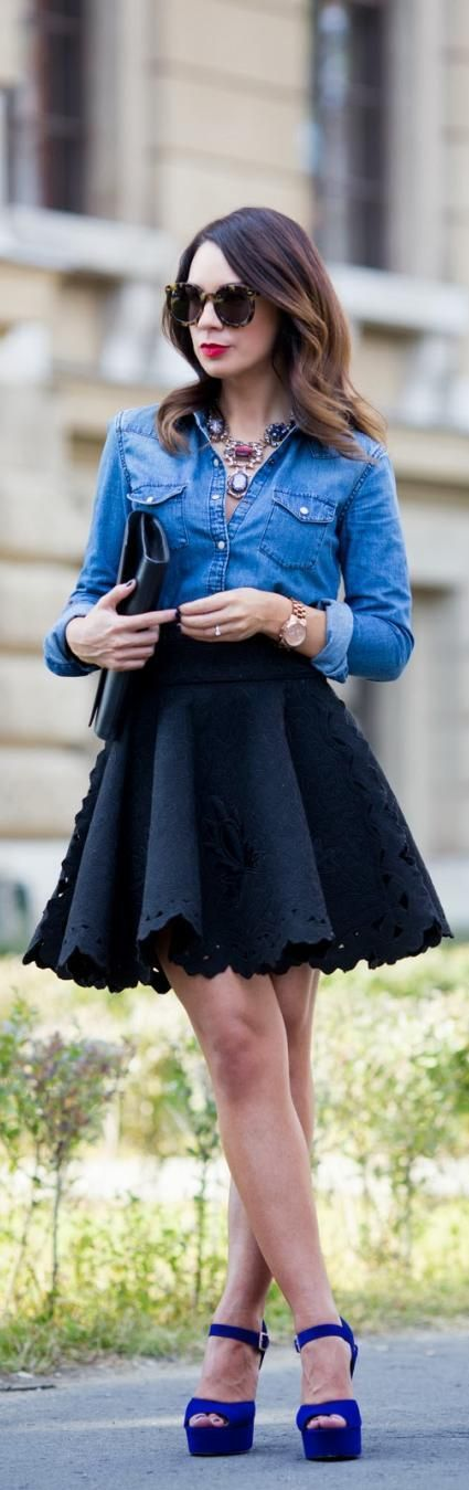 Denim shirt and skater skirt