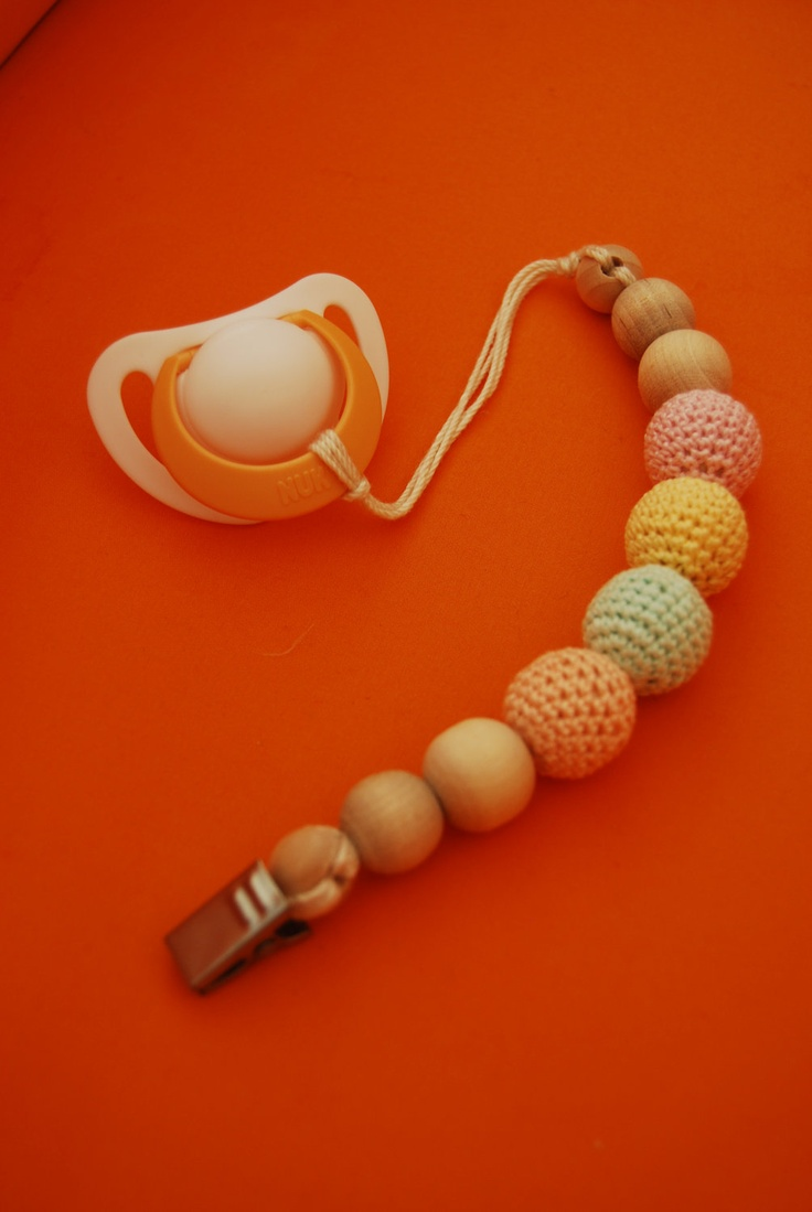 Eco-Friendly Baby Teething Pacifier Clip with Crochet wooden beads. Choose your Colors-  Ready to Ship.. $14.00, via Etsy.