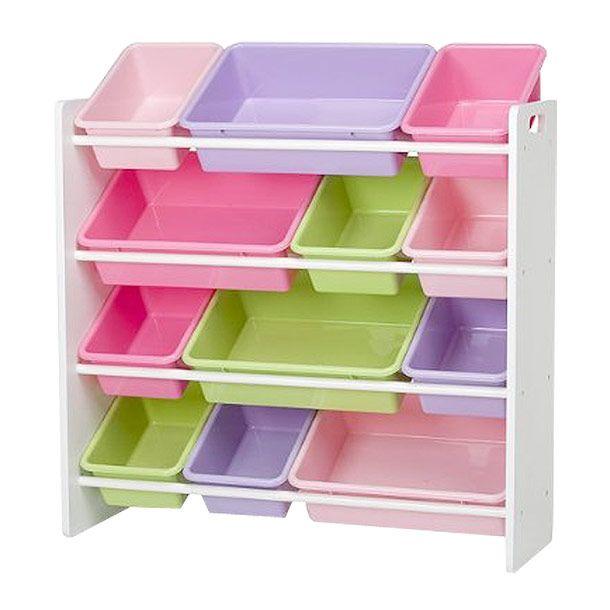 Medida 86 x 29.5 x 80 cm. Con 12 recipientes plásticos. Ideal para guardar y organizar de manera estética los juguetes. Peluches. Libros. Colores etc. Fácil armado e instalación. Modelo N8571.