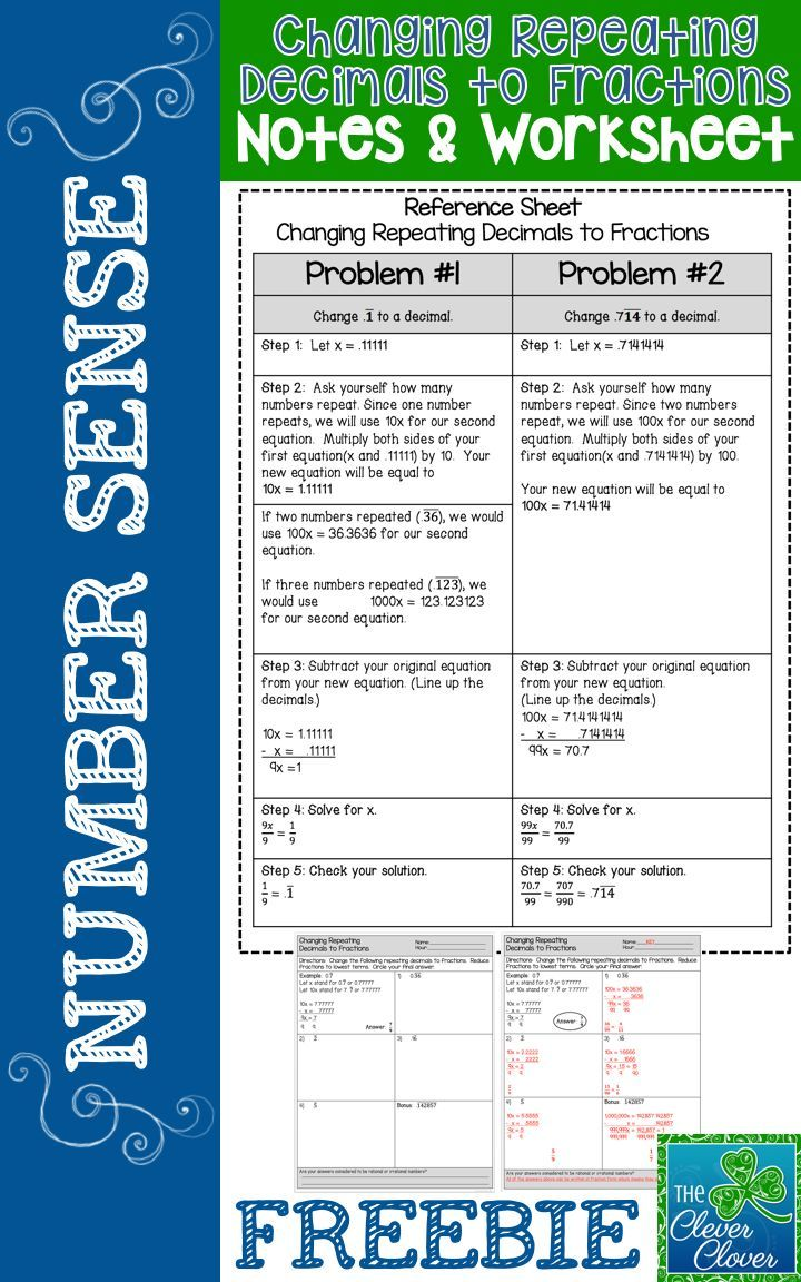 This product includes a reference page for students to glue in their notebooks.  The notes take students through a series of steps to use in order to change a repeating decimal to a fraction.    Following the note page, students will work on five problems.  One example is provided for the assignment.  A variety of repeating decimals (one digit, two digits, etc.) is given for students to complete.