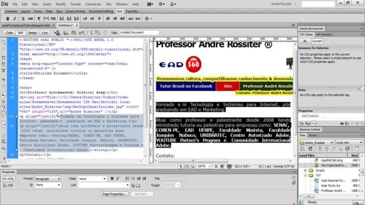 Vídeo aula Web Design com Adobe Dreamweaver CS6. Como formatar texto.