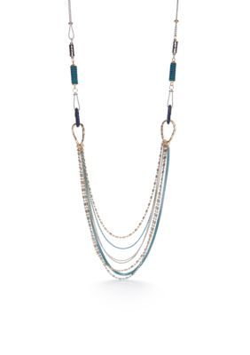 Ruby Rd Blue Silver-Tone Good Jeans Swag Chain Necklace