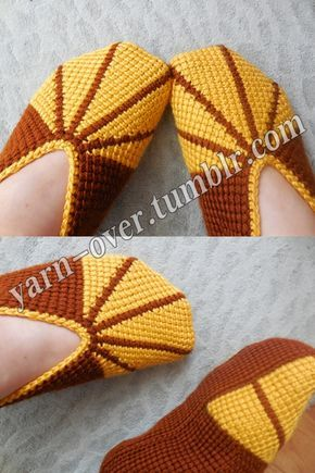 Tunisian Crochet Slippers - Pattern/Photo Tutorial by Yarn-Over@Tumblr